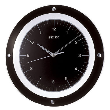 jcpenney.com | Seiko® Black with Silver Metal Wall Clock with Floating Dial