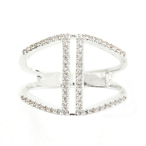 Footnotes® Cubic Zirconia Silver Over Brass Open Band Ring