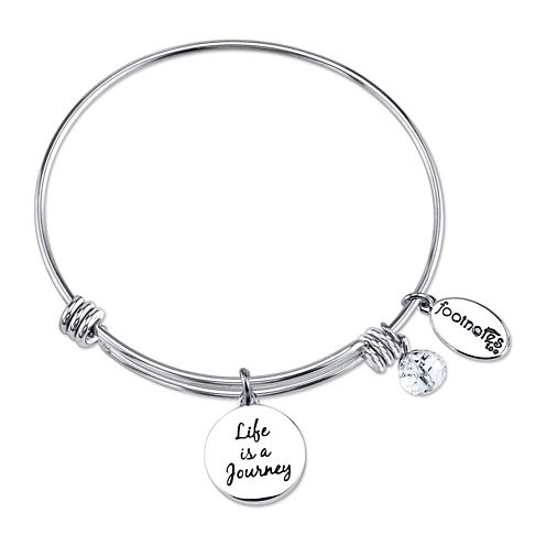 Footnotes® Crystal Charm Stainless Steel Bangle Bracelet