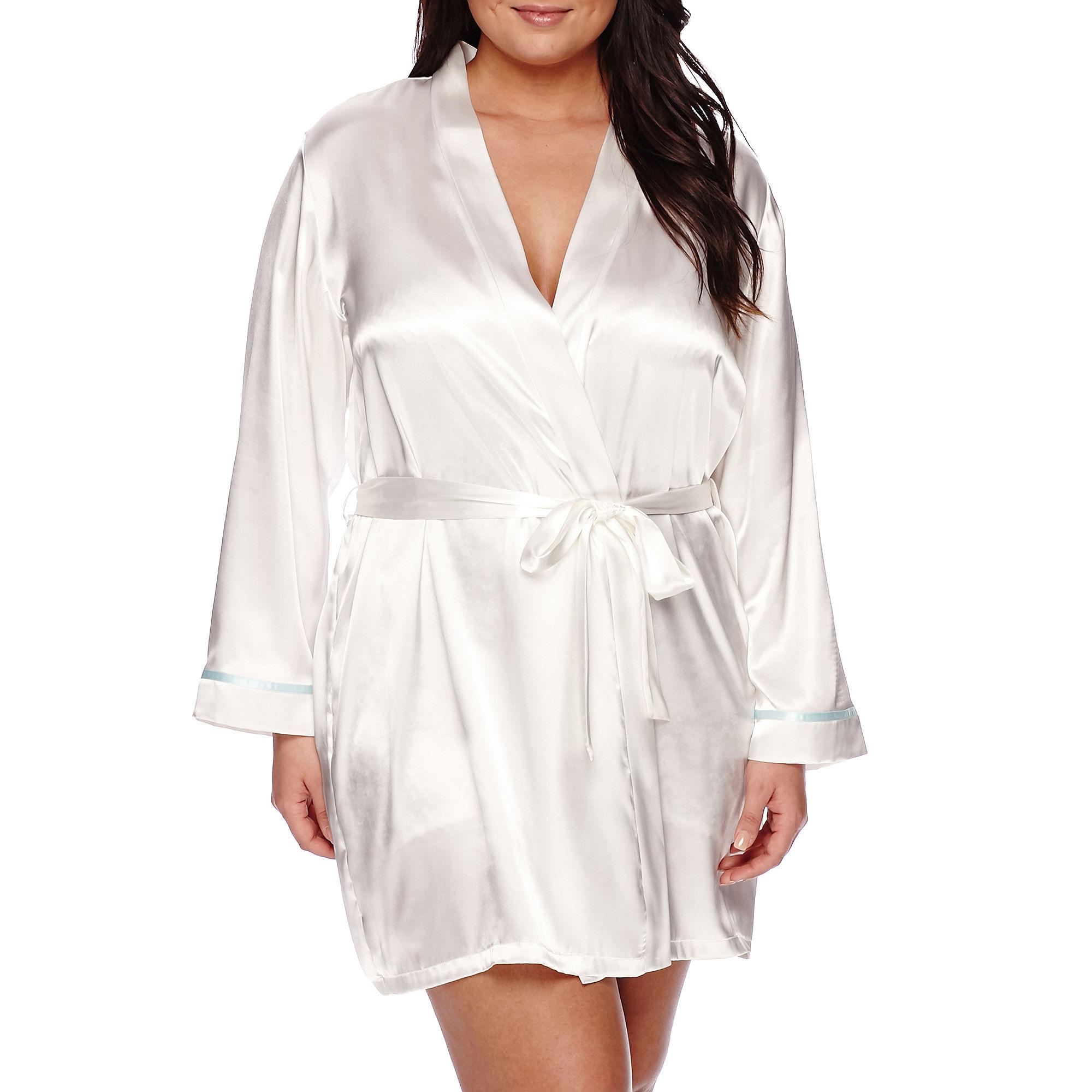 "Intimo Donatella 3/4-Sleeve ""The Bride"" Satin Wrap Robe - Plus plus size,  plus size fashion plus size appare"