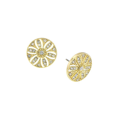 1928® Jewelry Gold-Tone Crystal Disk Button Earrings