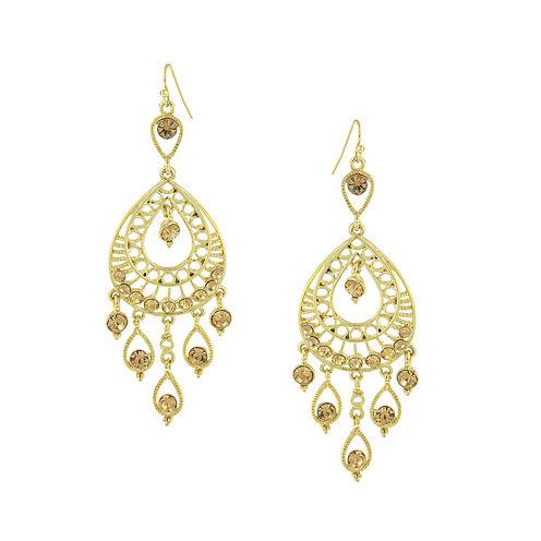 1928® Jewelry Gold-Tone Yellow Filigree Teardrop Earrings