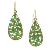 1928® Jewelry Gold-Tone Green Crystal and Enamel Teardrop Earrings