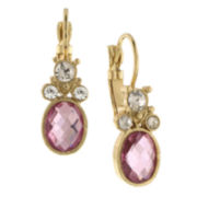1928® Jewelry Gold-Tone Pink Crystal Drop Earrings