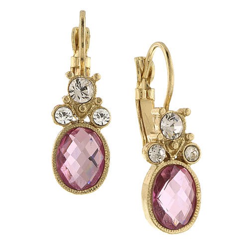1928® Jewelry Gold-Tone Pink Crystal Drop Earrings