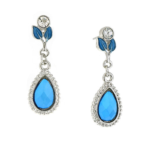 1928® Jewelry Silver-Tone Blue Leaf Teardrop Earrings