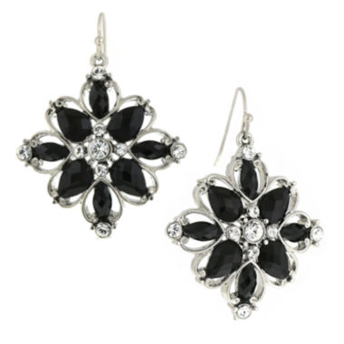 jcpenney.com | 1928® Jewelry Silver-Tone Black Stone and Crystal Flower Drop Earrings