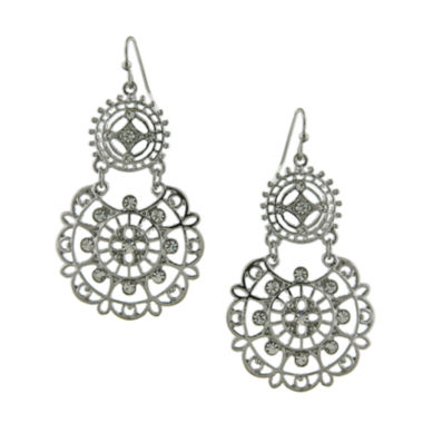 jcpenney.com | 1928® Jewelry Silver-Tone Crystal Large Filigree Earrings