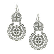 1928® Jewelry Silver-Tone Crystal Large Filigree Earrings
