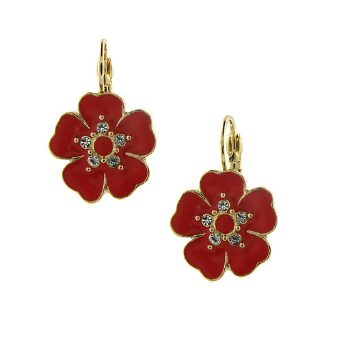 1928® Jewelry Gold-Tone Pink Enamel and Crystal Flower Drop Earrings