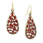 1928® Jewelry Gold-Tone Pink-Orange Stone and Enamel Teardrop Earrings