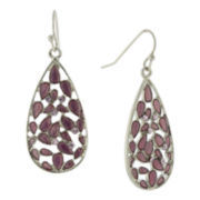 1928® Jewelry Silver-Tone Purple Crystal and Purple Enamel Teardrop Earrings