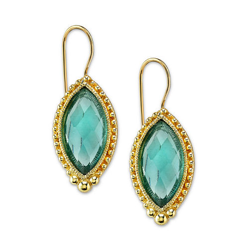 1928® Jewelry Gold-Tone Blue Navette Drop Earrings