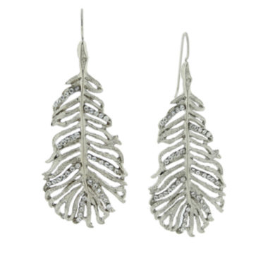 jcpenney.com | 1928® Jewelry Silver-Tone Crystal Leaf Drop Earrings