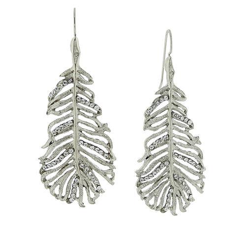 1928® Jewelry Silver-Tone Crystal Leaf Drop Earrings
