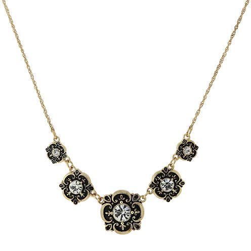 1928® Jewelry Gold-Tone Crystal Bib Necklace