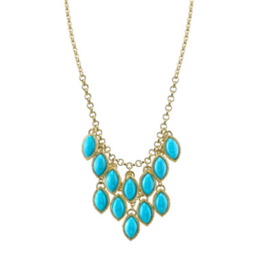 jcpenney.com | 1928® Jewelry Gold-Tone Blue Stone Navette Bib Necklace