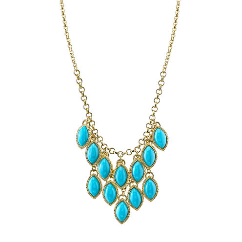 1928® Jewelry Gold-Tone Blue Stone Navette Bib Necklace