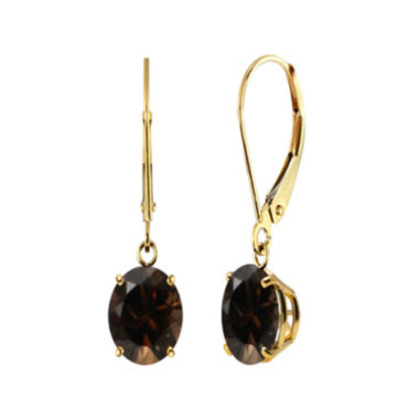 jcpenney.com | Round Genuine Smoky Quartz 10K Yellow Gold Earrings