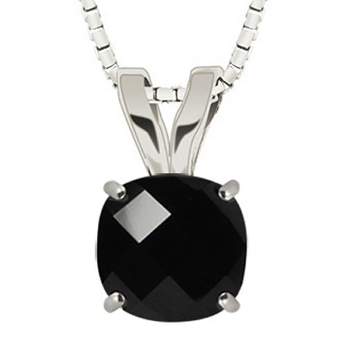 Genuine Black Onyx 10K White Gold Pendant