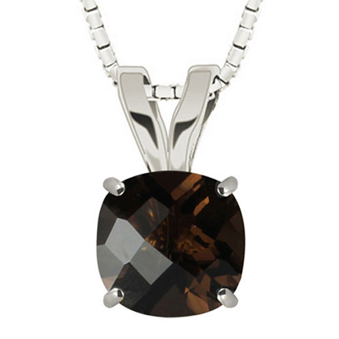 Genuine Smoky Quartz 10K White Gold Pendant
