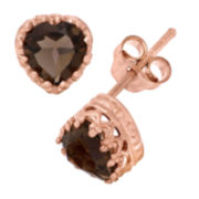 Genuine Smokey Quartz 14K Rose Gold Over Silver Earrings