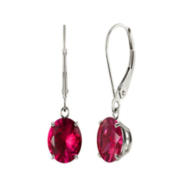 jcpenney.com | Round Lab-Created Ruby 10K White Gold Earrings