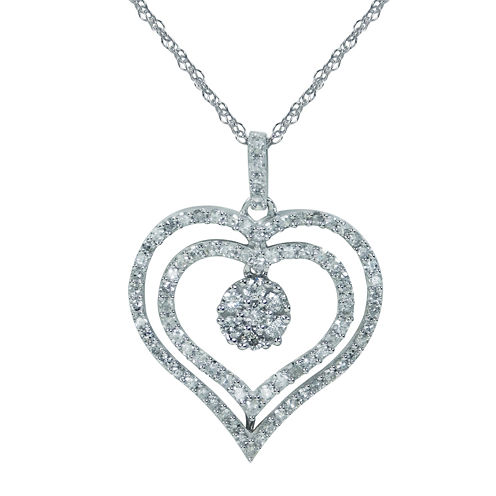 diamond blossom 1/2 CT. T.W. Diamond 10K White Gold Pendant