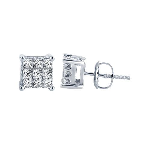 ½ CT. T.W. Princess Diamond Stud Earrings