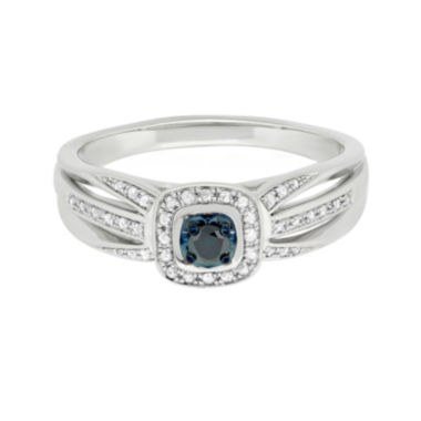jcpenney.com | Sterling Silver Genuine Blue Center Diamond with White Diamond Split Shank Ring