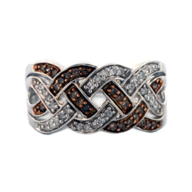 jcpenney.com | Sterling Silver Brown and White Diamond Braid Ring