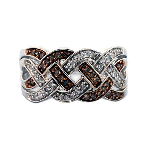 Sterling Silver Brown and White Diamond Braid Ring