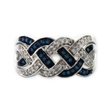 jcpenney.com | Sterling Silver Blue and White Diamond Braid Ring