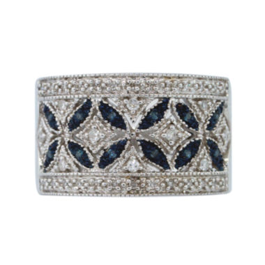 jcpenney.com | Sterling Silver Blue and White Diamond Wideband Ring