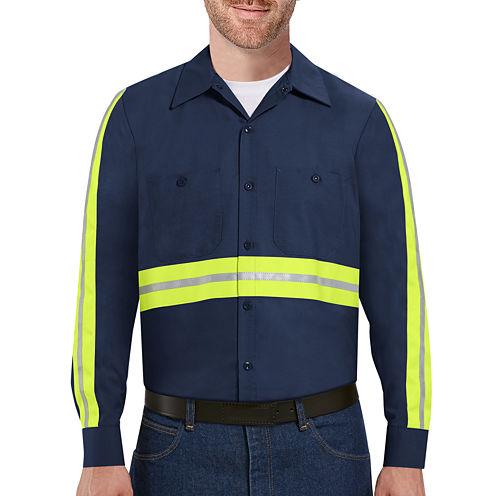 Red Kap® Long-Sleeve Enhanced Visibility Industrial Work Shirt - Big & Tall