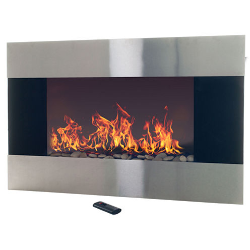 """36"""" Stainless Steel Wall Mount Electric Fireplace"""