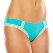 Ambrielle® Lace-Trim Cotton-Blend Bikini Panties