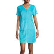 Jasmine Rose Short-Sleeve Terry Zip Robe