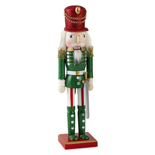 """North Pole Trading Co. 14"""" Red & Green Glitter Nutcracker"""