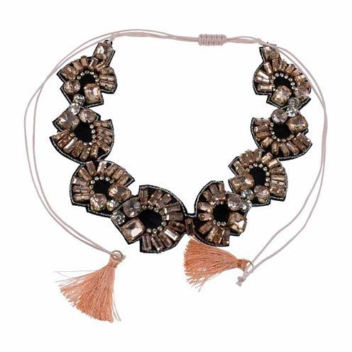 Jardin Womens Pink Brass Choker Necklace