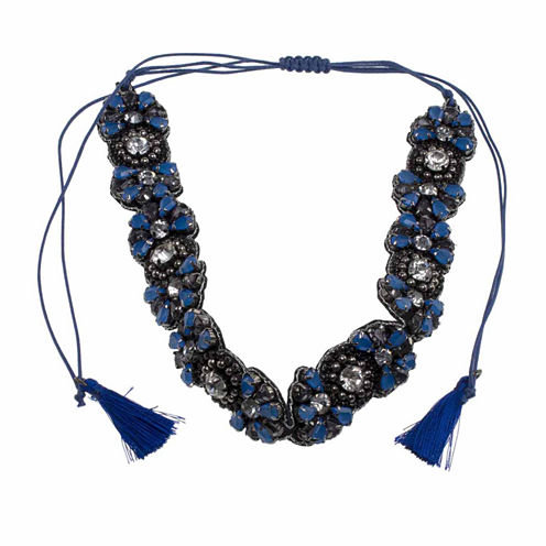 Jardin Womens Blue Brass Choker Necklace