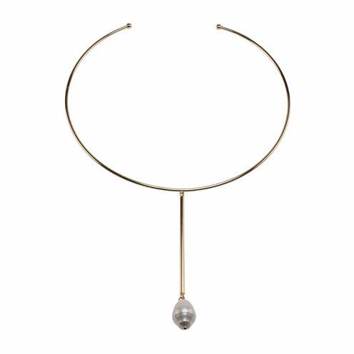 Jardin Womens White Brass Collar Necklace