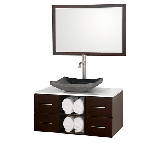 Abba 36 inch Single Bathroom Vanity with White Man-Made Stone Countertop and and 36 inch Mirror
