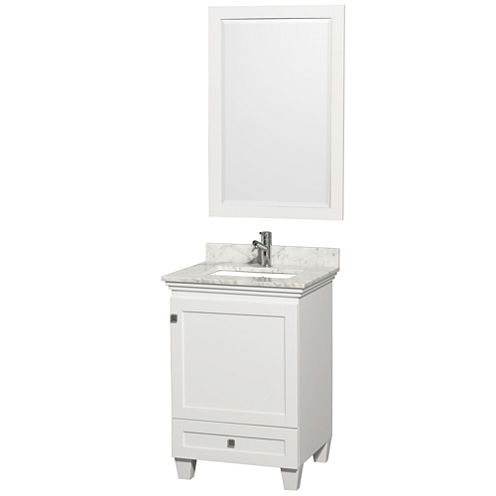 Acclaim 24 inch Single Bathroom Vanity with WhiteCarrera Marble Countertop and Undermount Square Sink