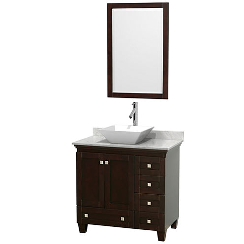 Acclaim 36 inch Single Bathroom Vanity with WhiteCarrera Marble Countertop and Pyra White PorcelainSink