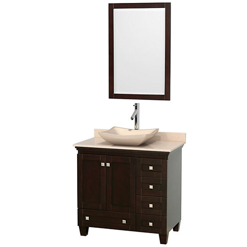 Acclaim 36 inch Single Bathroom Vanity with IvoryMarble Countertop and Avalon Ivory Marble Sink