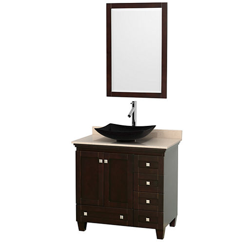 Acclaim 36 inch Single Bathroom Vanity with IvoryMarble Countertop and Arista Black Granite Sink
