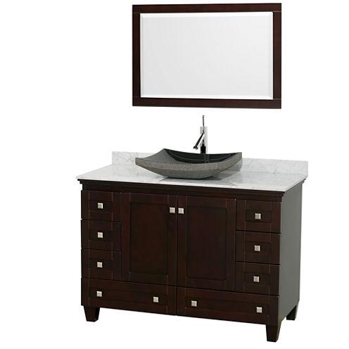 Acclaim 48 inch Single Bathroom Vanity with WhiteCarrera Marble Countertop and Altair Black GraniteSink