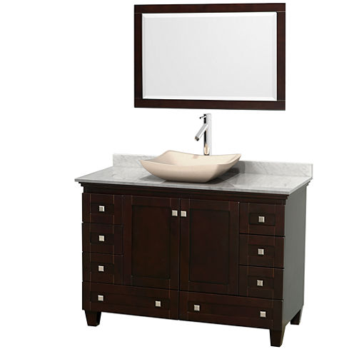 Acclaim 48 inch Single Bathroom Vanity with WhiteCarrera Marble Countertop and Avalon Ivory MarbleSink