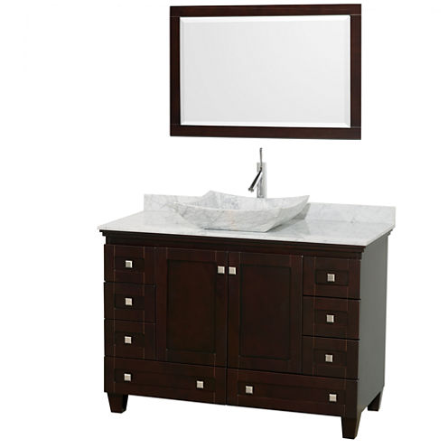 Acclaim 48 inch Single Bathroom Vanity with WhiteCarrera Marble Countertop and Avalon White CarreraMarble Sink